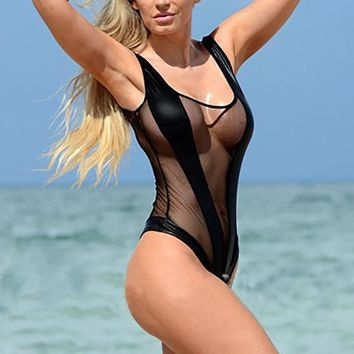 Super Sexy Splicing Transparent Mesh One Piece Swimsuit Summer Sheer Monokini See Through Bathing Suit  Swimwear Bodysuit Bikini