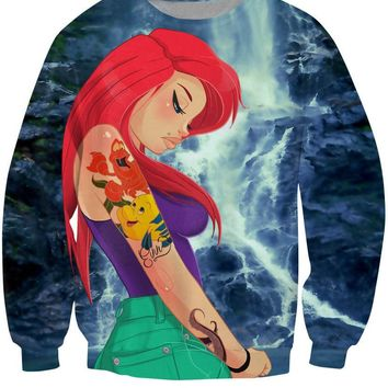 Hipster Ariel The Little Mermaid All Over Full Print 3D Diy Sublimated Polyester Blend Unisex Crew Neck Sweatshirt