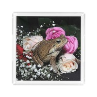 Cane toad in flowers acrylic tray