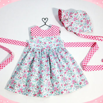 9 to 12 month baby dress easter outfit infant set baby bonnet baby outfit easter dress pink floral dress spring dress spring outfit