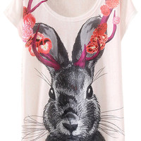 White Rabbit Print Short Sleeve Graphic Tee