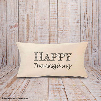 Happy Thanksgiving pillow-fall decor-autumn pillow-thanksgiving lumbar pillow-rustic pillow-home decor-decorative pillow-NATURA PICTA-NPLP04