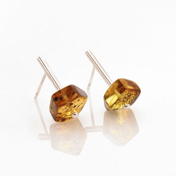 Stud earrings - Baltic amber jewelry - Sterling silver earrings - Amber earrings for women - Unique earrings - Earring studs Studs earrings