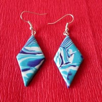 turquoise summer earrings,turquoise polymer clay earrings,polymer clay jewelry,affordable earrings,gift for her,geometrical earrings,blue