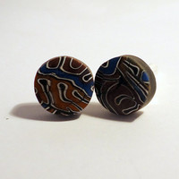 Men's round cufflinks polymer clay brain cane