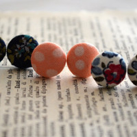 Fabric Button Earrings, Floral Trio, Cute Button Earrings, Polka Dots, Party Favors, Birthday Gift, Hipster Trendy Chic