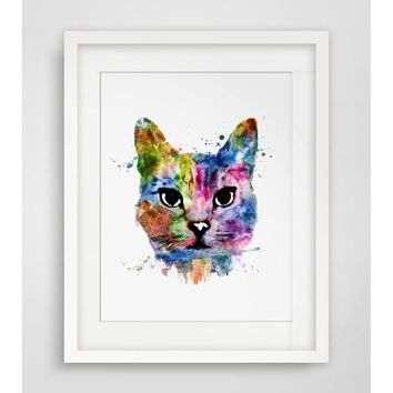 Cat Art Print Watercolor Wall Hanging Cat  Watercolor Handmade Cat Art Paper  Poster Watercolor Cat  Wall Decor Without Frame