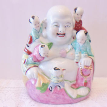 Laughing Buddha with Children Statue Vintage Asian Art Hotei Pu Tai Home Office Decor Porcelain Figure