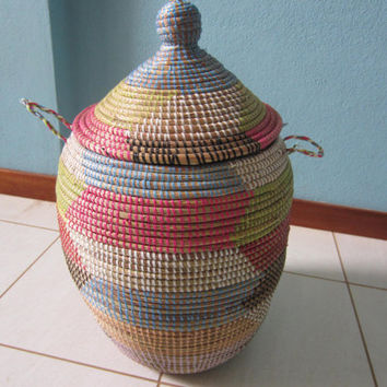 Round Storage Basket, Wicker storage basket with lid, Panier Africaine, storage bin
