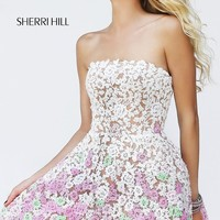 Short Strapless Lace Dress by Sherri Hill