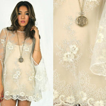 Vintage 70s Inspired Sheer Floral Lace Bohemian Hippie Lace Wedding Dress Bell Sleeves Mini Boho Dress