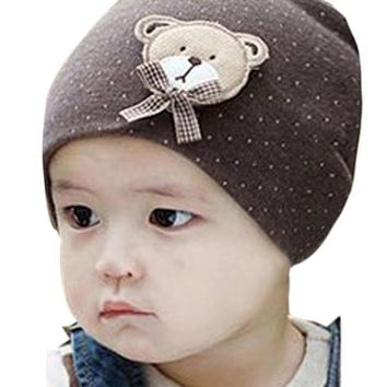 New Fashion 0-9M Lovely Infant Unisex Baby Boys Girls Bear Dots Pattern Cotton Cap Winter Beanie Hats 9 Colors