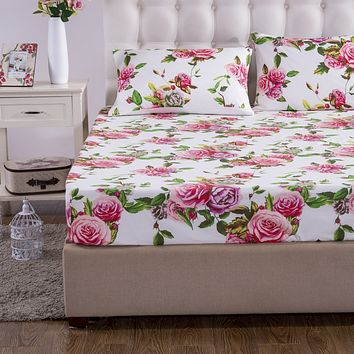 DaDa Bedding Romantic Roses Fitted Bed Sheet w/ Pillow Cases Set, Lovely Spring Pink Floral (JHW879-Fitted)
