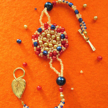 Handmade gold blue&red  beaded bracelet