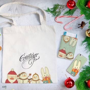 Bunny With Xmas Combo Passport Holder, Clutch and Tote Bag