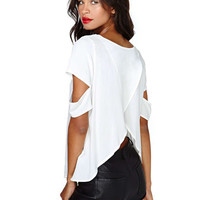 White Short Sleeve Cut-Out Chiffon Top