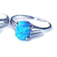 Sterling Silver Blue Oval Opal Ring