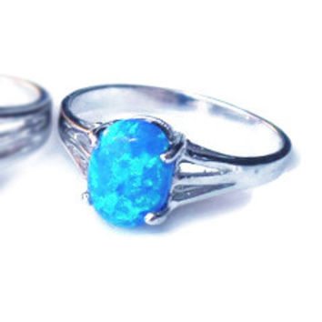 Sterling Silver Blue Oval Created Opal Ring