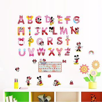 Kids Cartoon Minnie Mickey Alphabet Letters Mural Wall Stickers