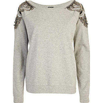 Grey embellished shoulder sweatshirt - sweaters / hoodies - t shirts / tanks / sweats - women