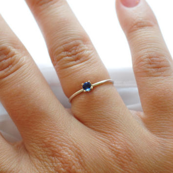 Sapphire Gemstone Ring Simple Blue Sterling Silver Delicate Skinny September Birthstone