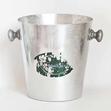 Vintage French Perrier Jouet Champagne Bucket, Aluminum Wine Cooler with Handles, Vogalu Made in France, Rustic Aged