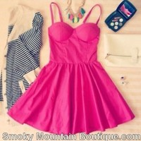 Sexy Fushia Pink Retro Bustier Dress with Adjustable Straps - Size XS/S/M - Smoky Mountain Boutique
