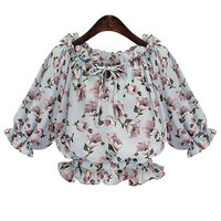 Light Blue Tie Collar Floral Ruffle Blouse