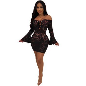 Sexy Black Sheer Floral Lace Dress Women Flare Long Sleeve Lace Up Off Shouler Bodycon Mini Dress Night Club Party Short Dress
