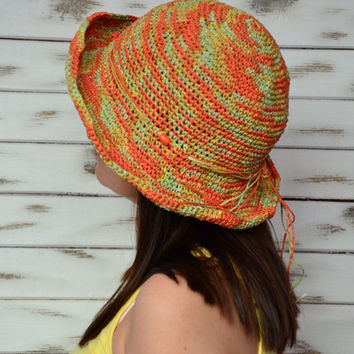 Sun raffia hat, straw hat crochet, sun hat women, orange sun hat crochet, floppy straw hat, bucket sun hat, brimmed sun hat, floppy sunhat