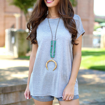 Piko scoop neck wide sleeve  - heather grey