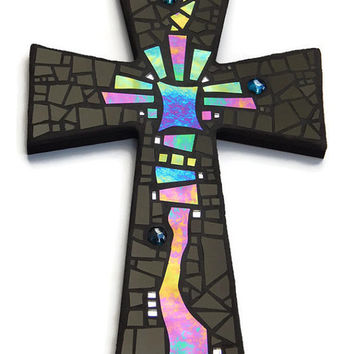 "Mosaic Wall Cross, Abstract Modern Art, Black with Iridescent Stained Glass, Handmade Stained Glass Mosaic Cross Wall Decor, 15"" x 10"""