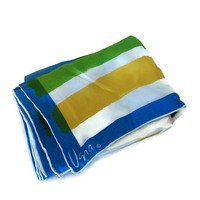 1970s Scarf / Vintage Vera Neumann Large Oblong Striped Silk Scarf in Blue, Yellow, Green, White