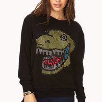 FOREVER 21 Quirky Studded Dinosaur Sweatshirt Black/Green