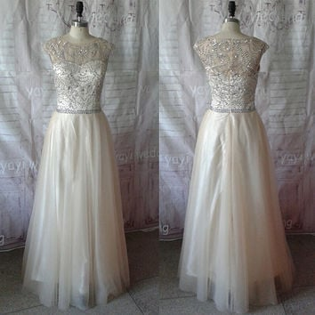 Exquisite Beadworks Scoop Necklline Champagne Tulle Skirt Long Prom Dress Formal Evening Party Dress ET151