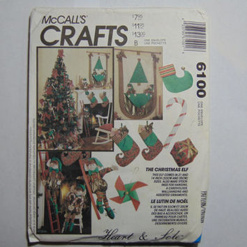 McCall's Craft Sewing Pattern 6100 The Christmas Elf Dolls and Décor