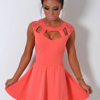 Trouble Maker Coral Cage Cut Out Lace Skater Dress | Pink Boutique