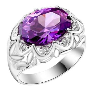 Silver Plated Flower Engagement Paved Purple CZ Diamond Big Ring(8)