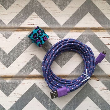 New Super Cute Jeweled Purple/Turquoise Blue Cheetah Print Designed USB Wall Connector + 10ft Purple Braided iPhone 5/5s/5c Cable Cord