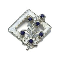 Square Flower Brooch, With Blue Rhinestones Set In Silver Tone Metal