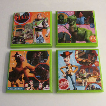 Toy Story Room Wall Plaques - Set of 4 Toy Story Boys Room Decor - Toy Story Wall Signs Buzz Lightyear Woody Bullseye Rex
