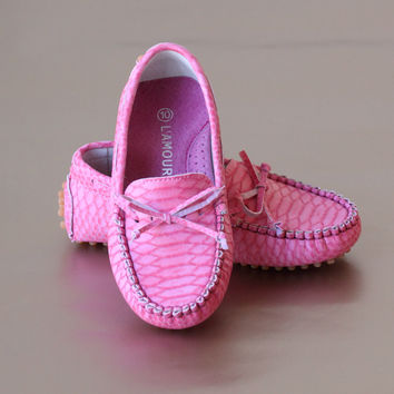 L'Amour Girls Leather Bow Moccasin