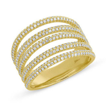 0.83ct 14k Yellow Gold Diamond Pave Lady's Ring