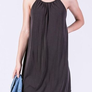 Celena Gathered Neck Dress in Black