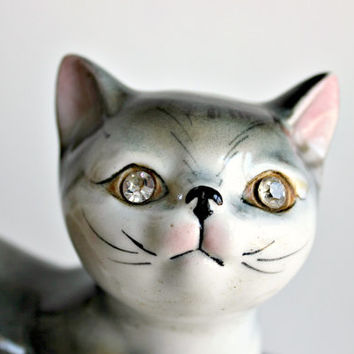 Faux Diamond Crystal Eyes Cat Figurine, Vintage Ceramic Glazed Black Grey & White Kitten Statue