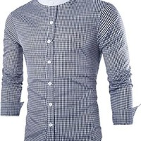 jeansian Men's Fashion Slim Stitching Plaid Long Sleeves Dress Shirts Tops 8730