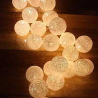 Love in colorful Cotton Ball Lights for home decoration,wedding patio,indoor string lights,bedroom fairy lights,20 Bulbs