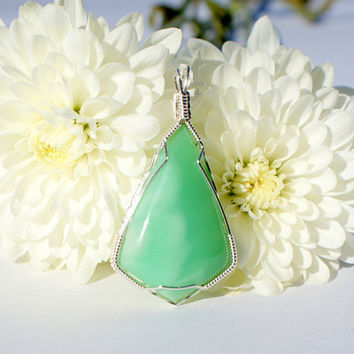 Wire Wrapped Chrysoprase Pendant Green Semi by TheTempestStone