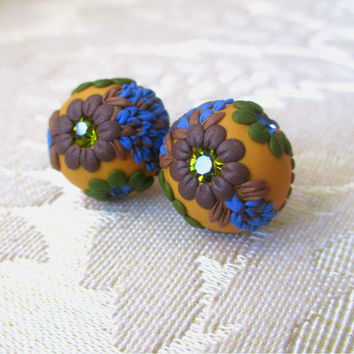 Picnic Autumn Ear studs Yellow / Ocher Fall Earrings Polymer Clay  Embroidery Flowers by Lena Handmade Jewelry
