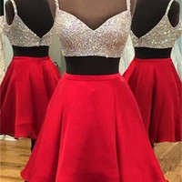 Short Luxurious Sparkle Two-piece Spaghetti Straps Homecoming Dress